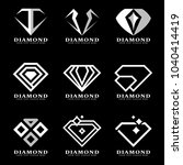 silver diamond logo sign on... | Shutterstock .eps vector #1040414419