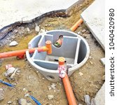 septic concrete tank during... | Shutterstock . vector #1040420980
