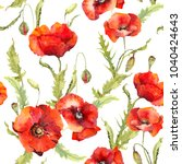 red poppies flowers  spring... | Shutterstock . vector #1040424643