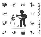 improper feeding of a child... | Shutterstock .eps vector #1040424943