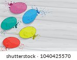 holi flat lay isolated on gray... | Shutterstock .eps vector #1040425570