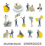 set of isometric icons rich... | Shutterstock .eps vector #1040426323
