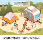 family summer vacation hiking... | Shutterstock .eps vector #1040426368