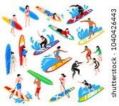 surfing isometric icons set...   Shutterstock .eps vector #1040426443