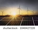 solar panels with wind turbine... | Shutterstock . vector #1040427220