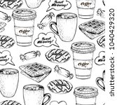 hand drawn seamless pattern of ... | Shutterstock . vector #1040429320