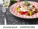 roasted pike perch perch with... | Shutterstock . vector #1040432386