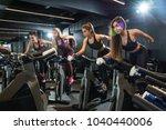 group of fitness girls riding... | Shutterstock . vector #1040440006