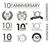 10 years anniversary icon set.... | Shutterstock .eps vector #1040440693