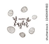 black easter lettering with... | Shutterstock . vector #1040449483