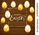 golden easter eggs with... | Shutterstock . vector #1040454664