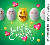 happy easter poster  easter... | Shutterstock .eps vector #1040461018