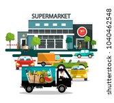 supermarket building with cars | Shutterstock .eps vector #1040462548