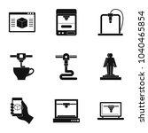 futuristic 3d printer icon set. ...