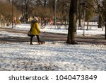 walking with a sick dog in the... | Shutterstock . vector #1040473849