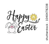 happy easter greeting text... | Shutterstock .eps vector #1040478238