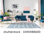 patterned carpet in pink and... | Shutterstock . vector #1040488600