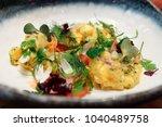haute cuisine appetizer with... | Shutterstock . vector #1040489758