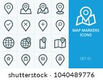 map markers icons set.... | Shutterstock .eps vector #1040489776