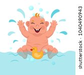 the baby is bathed vector... | Shutterstock .eps vector #1040490943