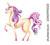 watercolor unicorn illustration ... | Shutterstock . vector #1040495020