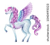 watercolor pegasus illustration ... | Shutterstock . vector #1040495023