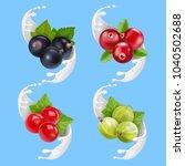 fruit berries and milk or... | Shutterstock .eps vector #1040502688