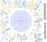 vector hand drawn floral frame... | Shutterstock .eps vector #1040505430