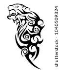 tiger in rage. black tribal...   Shutterstock .eps vector #1040509324