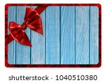 greeting card with red satin... | Shutterstock . vector #1040510380