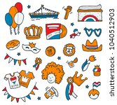 king's day clipart. hand drawn... | Shutterstock .eps vector #1040512903