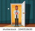 smart doctor on doorway. funny...   Shutterstock .eps vector #1040518630