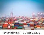 shanghai container port in... | Shutterstock . vector #1040523379