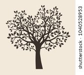 black tree with leaves. vector... | Shutterstock .eps vector #1040528953