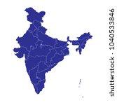 high detailed blue vector map ... | Shutterstock .eps vector #1040533846