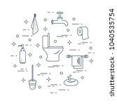 toilet bowl  toilet paper  soap ... | Shutterstock .eps vector #1040535754