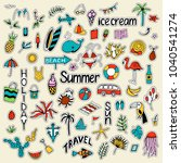 background with summer set of... | Shutterstock .eps vector #1040541274