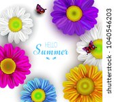 summer card with flowers and... | Shutterstock . vector #1040546203