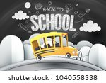 paper art of school bus running ... | Shutterstock .eps vector #1040558338