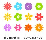 set of flat icon flower icons... | Shutterstock .eps vector #1040565403
