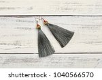 gray tassel earrings on white... | Shutterstock . vector #1040566570