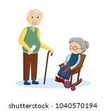 old  elderly  aged couple. gray ... | Shutterstock .eps vector #1040570194