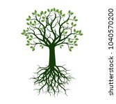 green tree with roots. vector... | Shutterstock .eps vector #1040570200