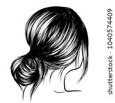 woman with loose classic bun.... | Shutterstock .eps vector #1040574409