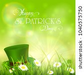 green hat of leprechaun in...   Shutterstock .eps vector #1040575750