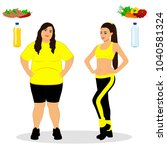 thin and fat. proper nutrition. ... | Shutterstock .eps vector #1040581324