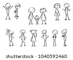 set of stick figures in... | Shutterstock .eps vector #1040592460
