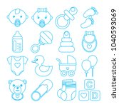 set of blue baby icons in line... | Shutterstock .eps vector #1040593069