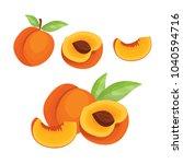 Peach. Vector Set  In Cartoon...