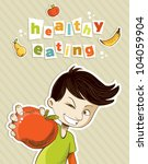 healthy food  cartoon teenager... | Shutterstock .eps vector #104059904